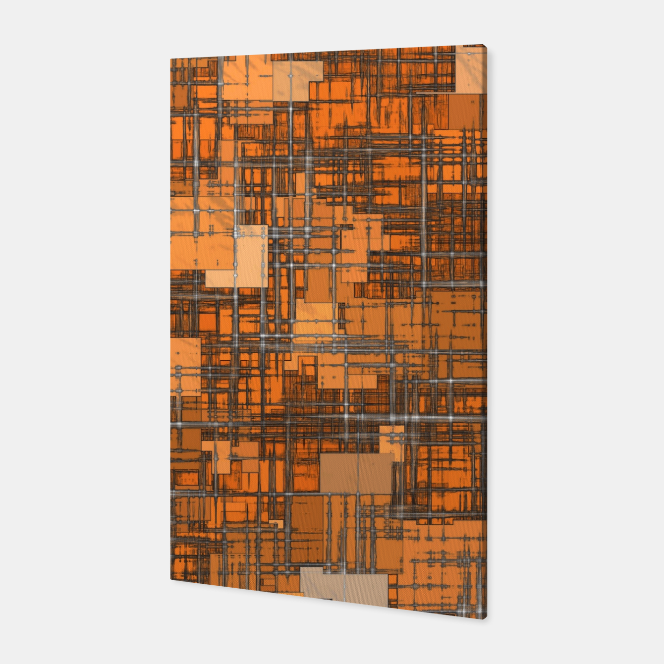 Image of geometric square pattern abstract background in orange and brown Canvas - Live Heroes