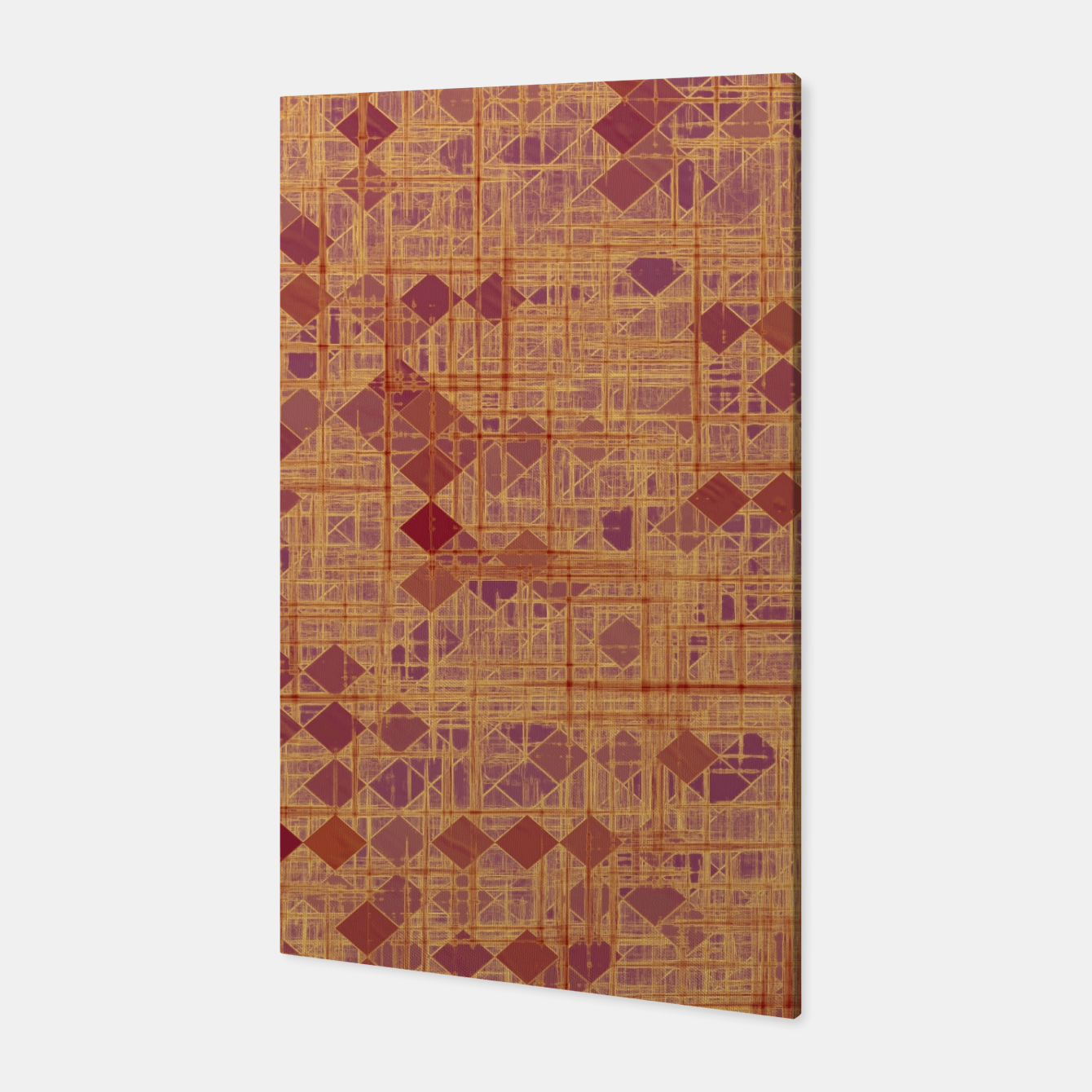 Image of geometric square pixel pattern abstract in brown and pink Canvas - Live Heroes