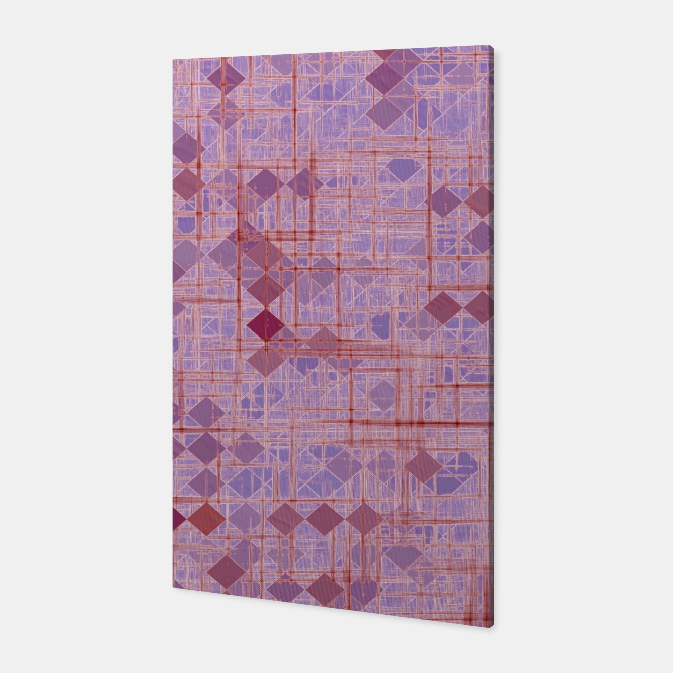 Image of geometric square pixel pattern abstract in pink and purple Canvas - Live Heroes