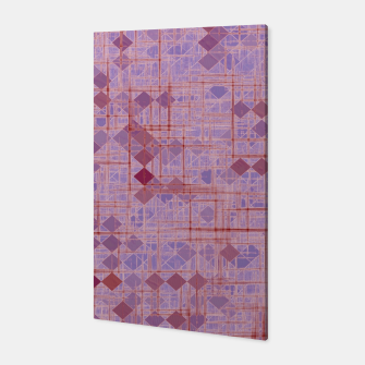 geometric square pixel pattern abstract in pink and purple Canvas thumbnail image