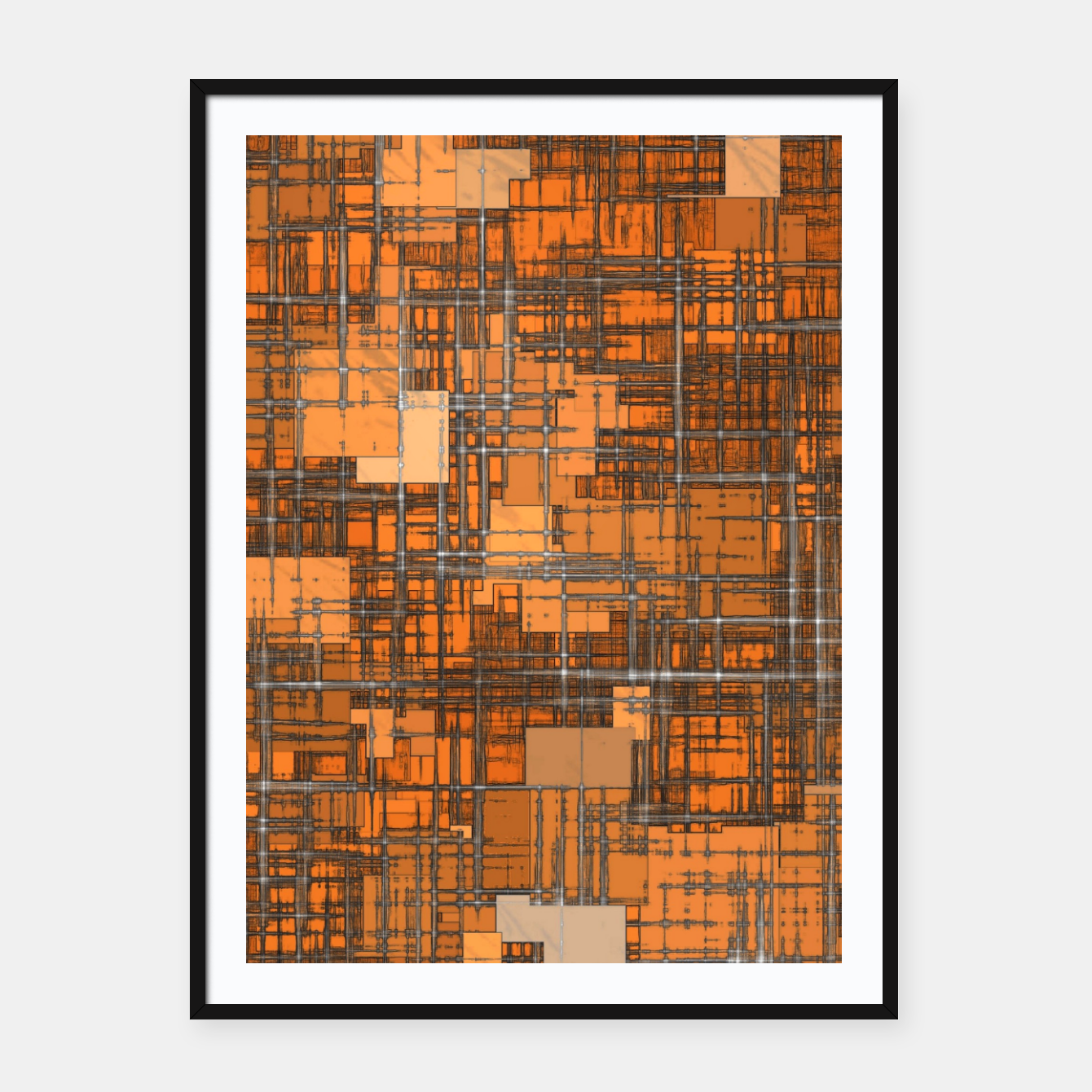 Image of geometric square pattern abstract background in orange and brown Framed poster - Live Heroes
