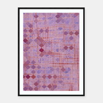 geometric square pixel pattern abstract in pink and purple Framed poster thumbnail image