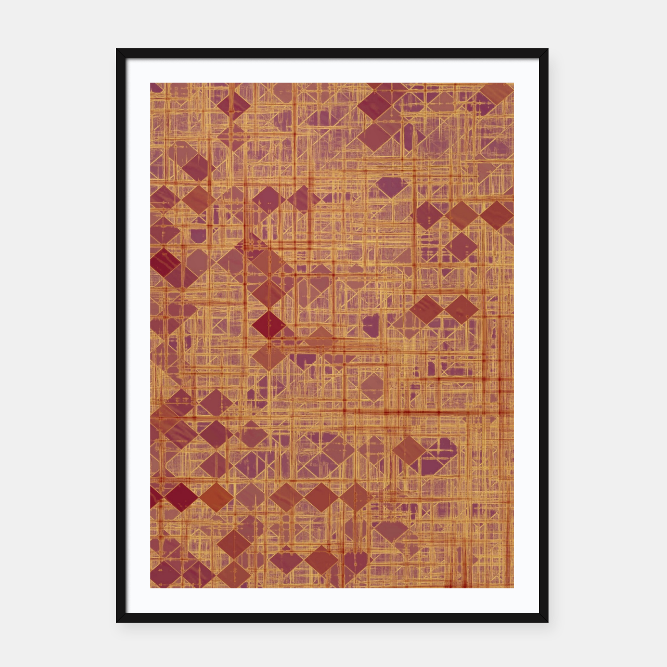Image of geometric square pixel pattern abstract in brown and pink Framed poster - Live Heroes