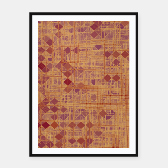 geometric square pixel pattern abstract in brown and pink Framed poster thumbnail image