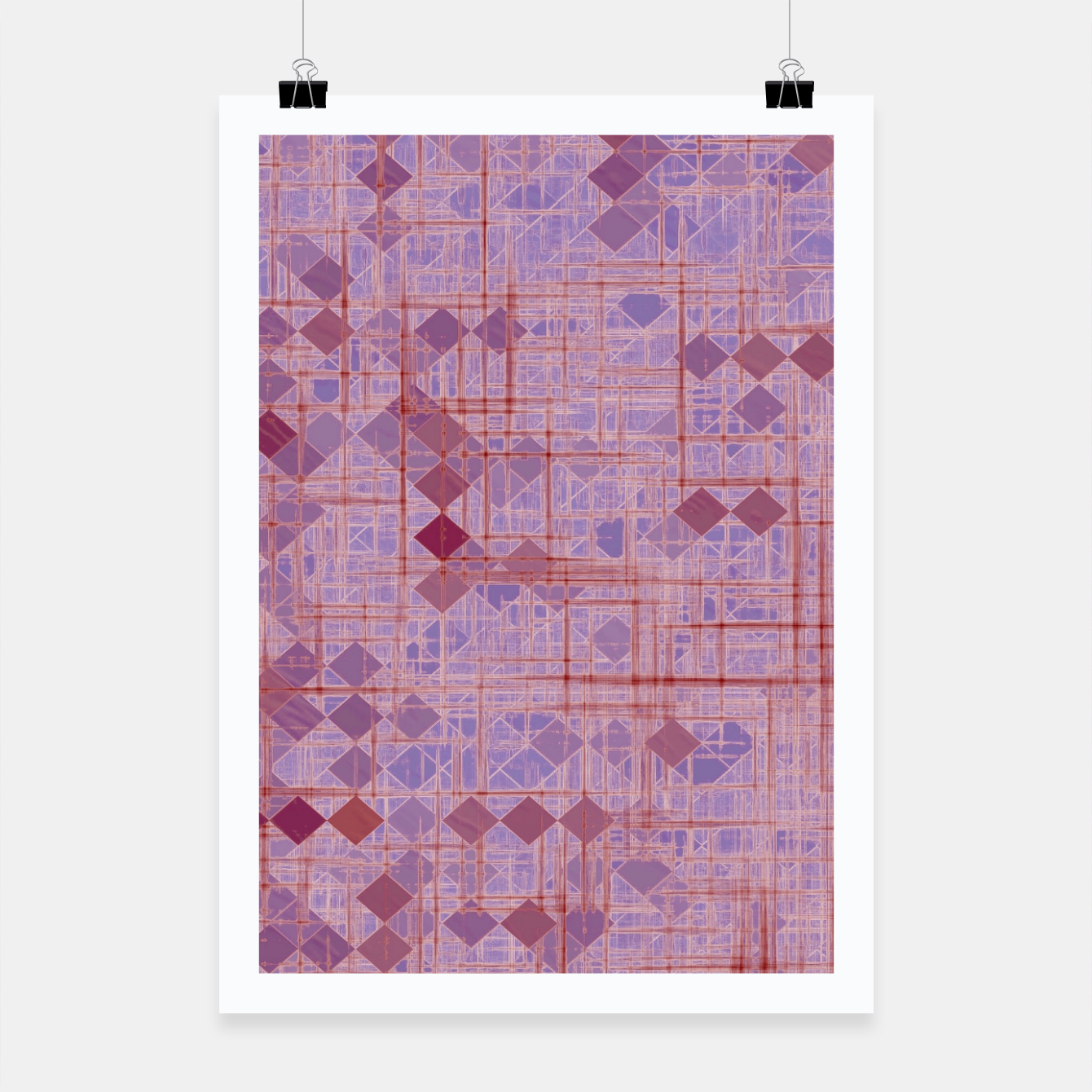 Image of geometric square pixel pattern abstract in pink and purple Poster - Live Heroes