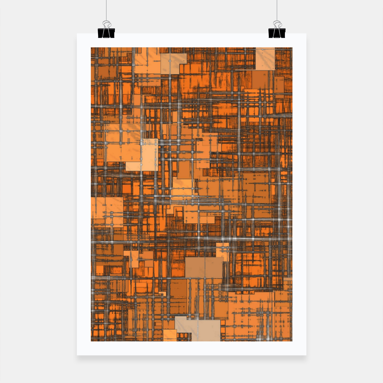 Image of geometric square pattern abstract background in orange and brown Poster - Live Heroes