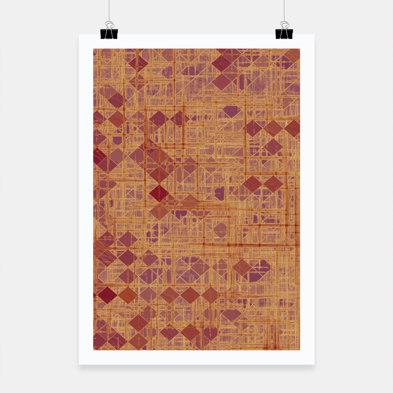Image of geometric square pixel pattern abstract in brown and pink Poster - Live Heroes