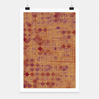 geometric square pixel pattern abstract in brown and pink Poster thumbnail image