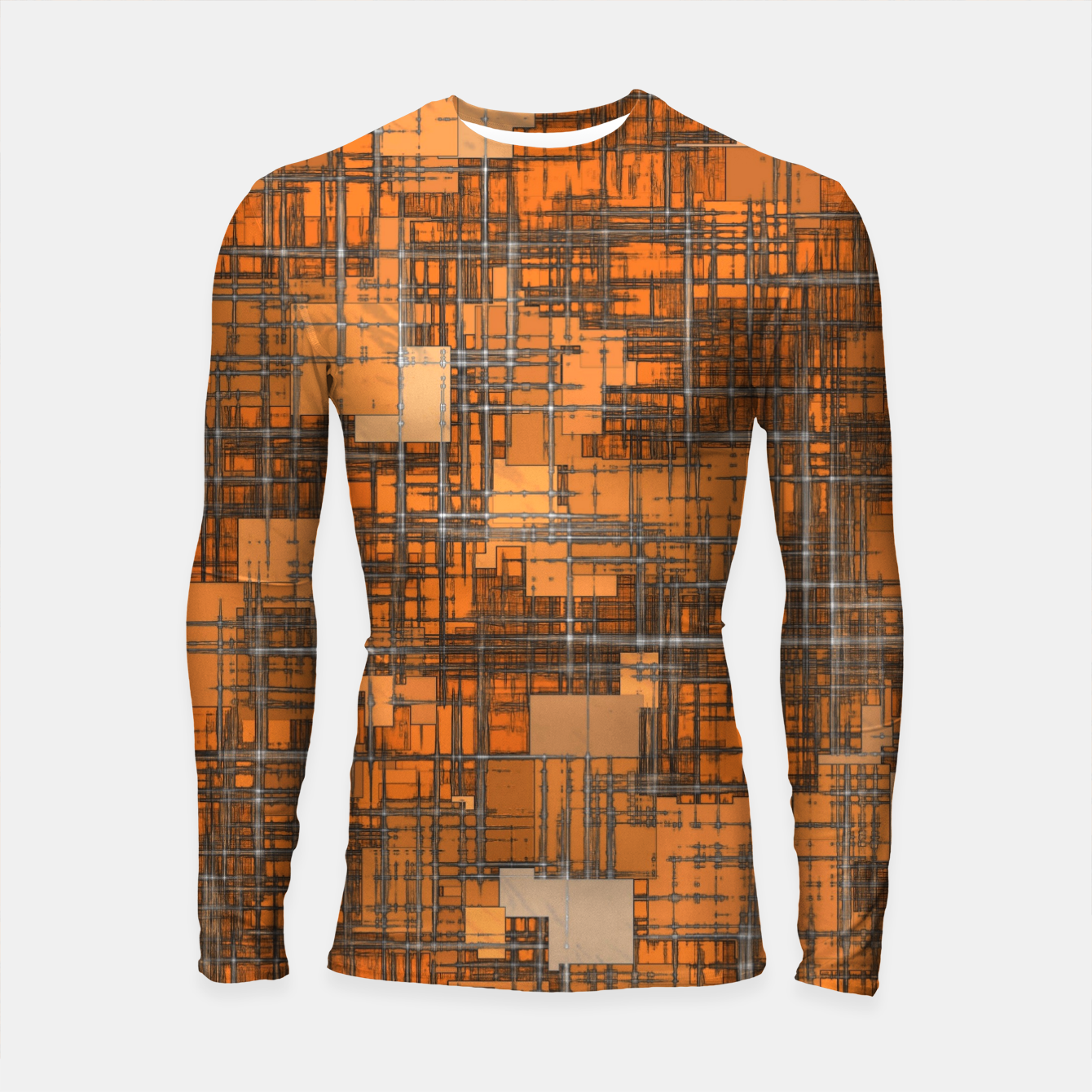 Image of geometric square pattern abstract background in orange and brown Longsleeve rashguard  - Live Heroes