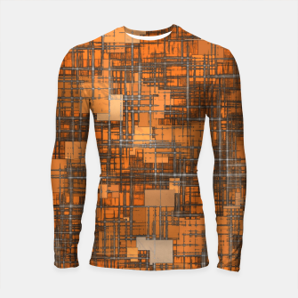 Miniatur geometric square pattern abstract background in orange and brown Longsleeve rashguard , Live Heroes