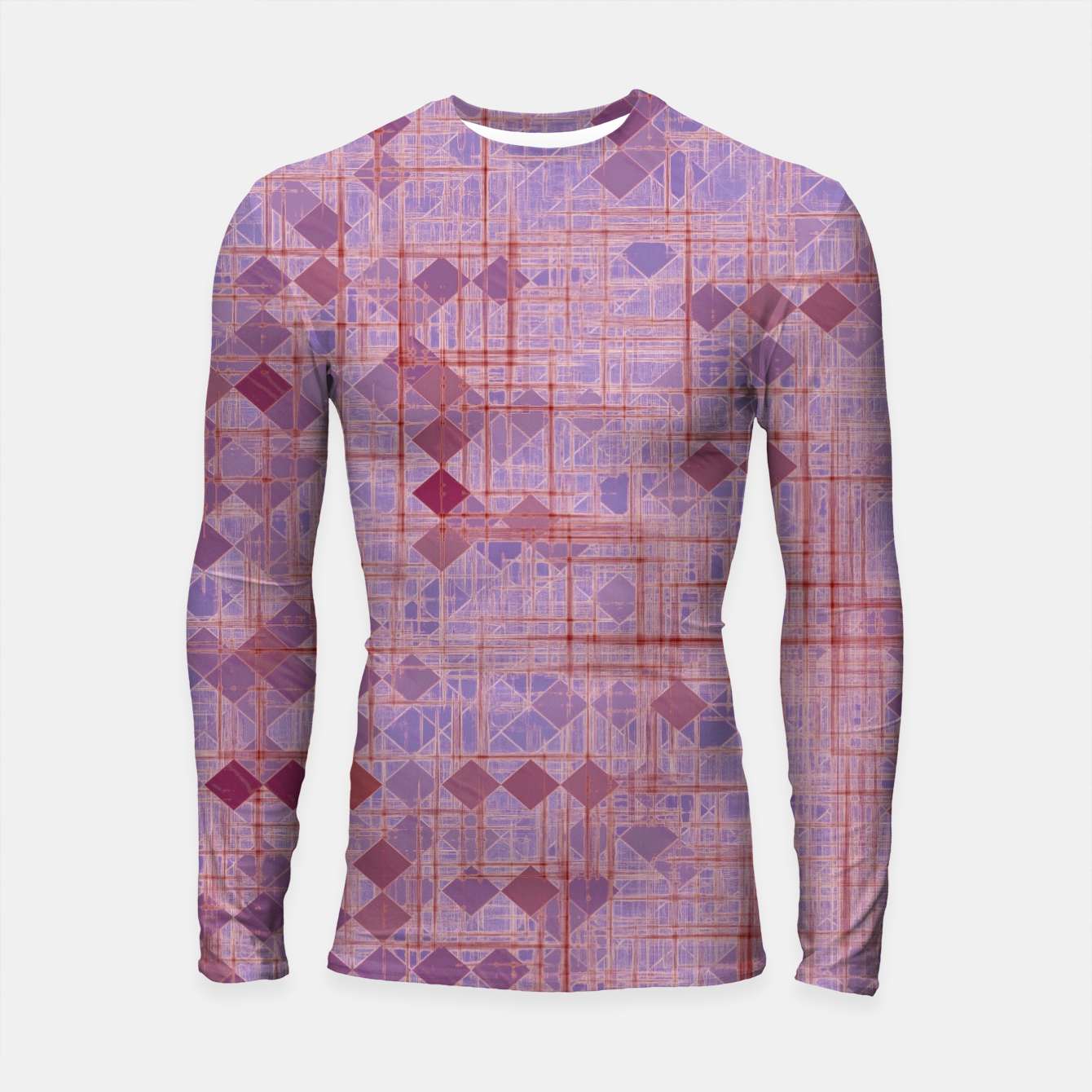 Image of geometric square pixel pattern abstract in pink and purple Longsleeve rashguard  - Live Heroes
