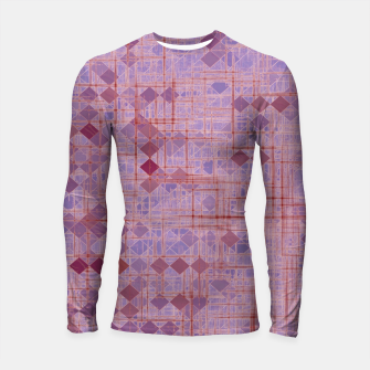 Miniatur geometric square pixel pattern abstract in pink and purple Longsleeve rashguard , Live Heroes
