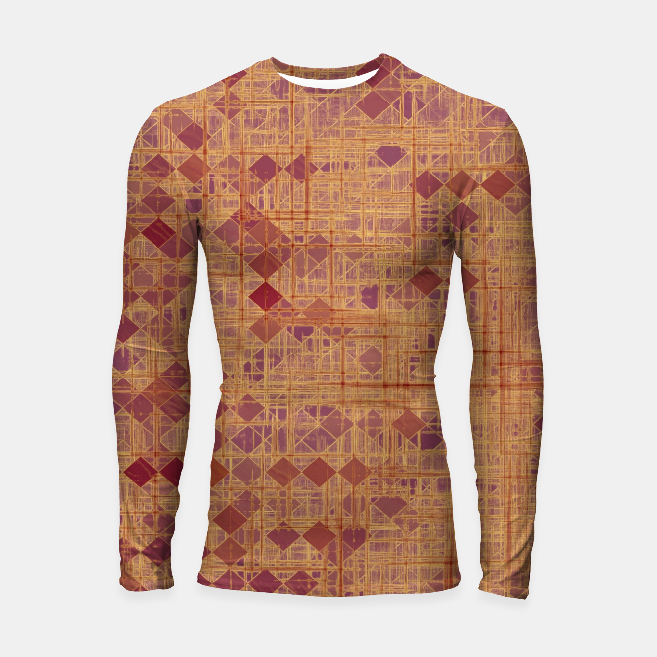 Image of geometric square pixel pattern abstract in brown and pink Longsleeve rashguard  - Live Heroes