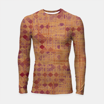 Thumbnail image of geometric square pixel pattern abstract in brown and pink Longsleeve rashguard , Live Heroes