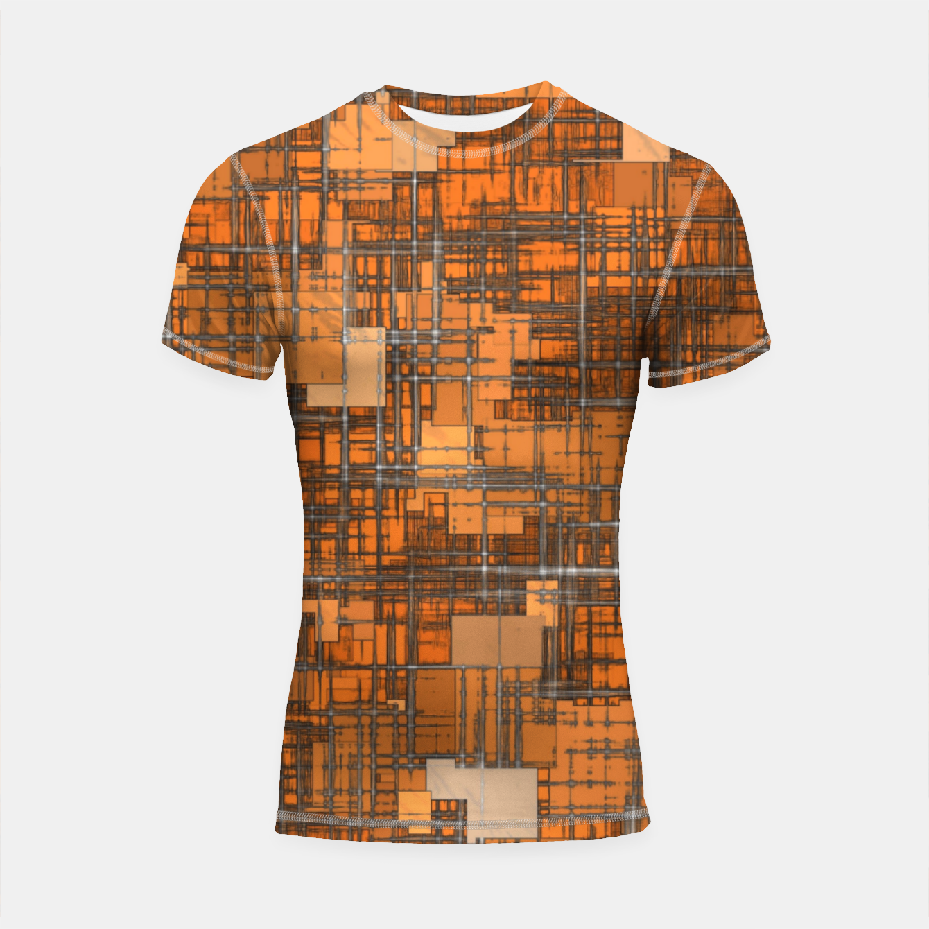 Image of geometric square pattern abstract background in orange and brown Shortsleeve rashguard - Live Heroes