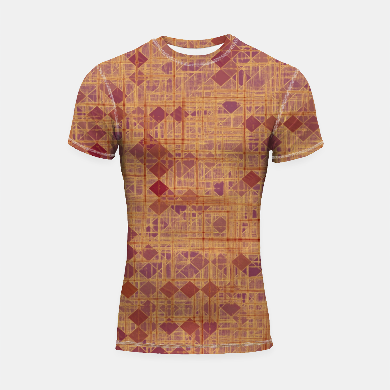 Image of geometric square pixel pattern abstract in brown and pink Shortsleeve rashguard - Live Heroes