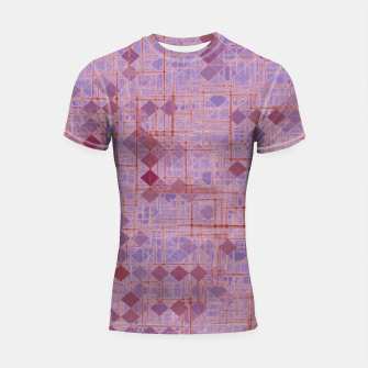 Thumbnail image of geometric square pixel pattern abstract in pink and purple Shortsleeve rashguard, Live Heroes