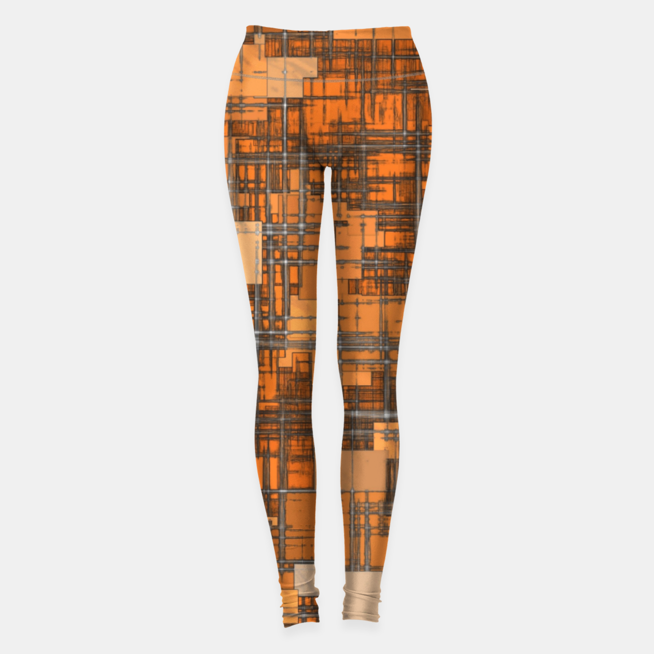 Image of geometric square pattern abstract background in orange and brown Leggings - Live Heroes