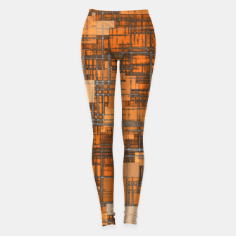 geometric square pattern abstract background in orange and brown Leggings thumbnail image
