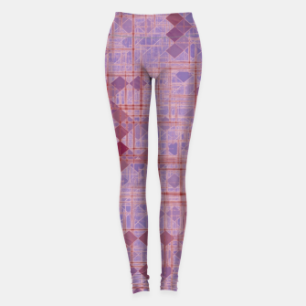 geometric square pixel pattern abstract in pink and purple Leggings thumbnail image
