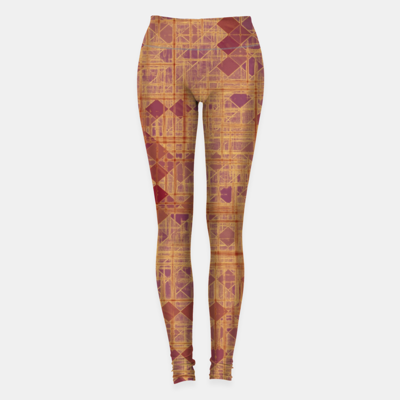 Image of geometric square pixel pattern abstract in brown and pink Leggings - Live Heroes