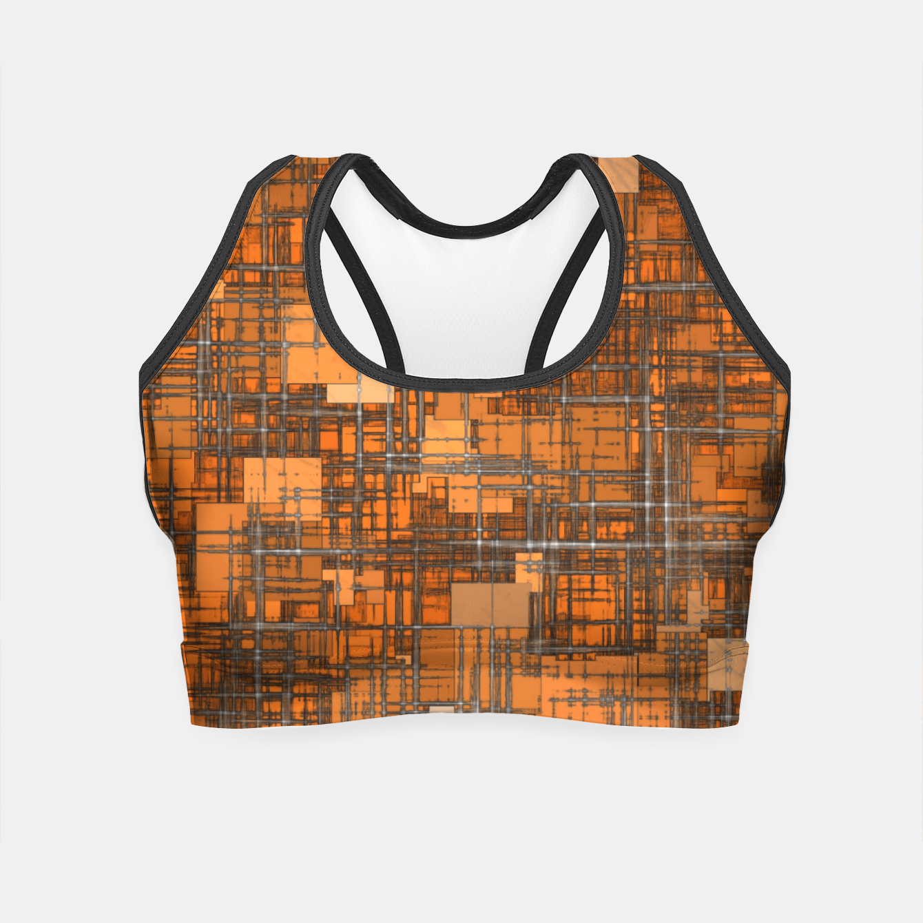 Image of geometric square pattern abstract background in orange and brown Crop Top - Live Heroes