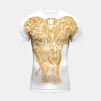 Thumbnail image of Not a circus golden elephant by #Bizzartino Shortsleeve rashguard, Live Heroes