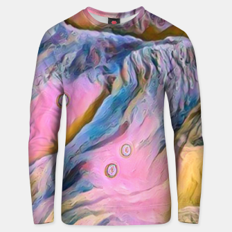 Thumbnail image of mountains abstract pastel pink blue yellow digital art Unisex sweater, Live Heroes