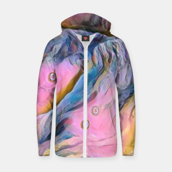 Thumbnail image of mountains abstract pastel pink blue yellow digital art Zip up hoodie, Live Heroes