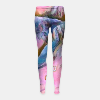 Thumbnail image of mountains abstract pastel pink blue yellow digital art Girl's leggings, Live Heroes