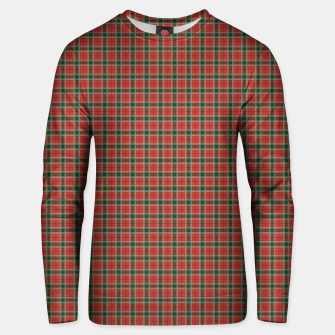 Miniatur Christmas Red and Dark Green Tartan with Double White Lines Unisex sweater, Live Heroes