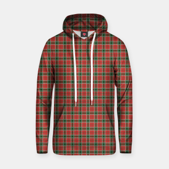 Miniatur Christmas Red and Dark Green Tartan with Double White Lines Hoodie, Live Heroes
