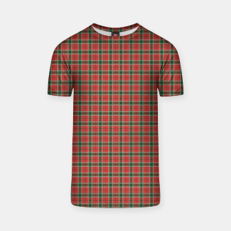 Miniatur Christmas Red and Dark Green Tartan with Double White Lines T-shirt, Live Heroes