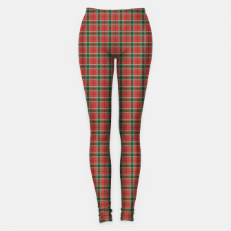 Miniatur Christmas Red and Dark Green Tartan with Double White Lines Leggings, Live Heroes
