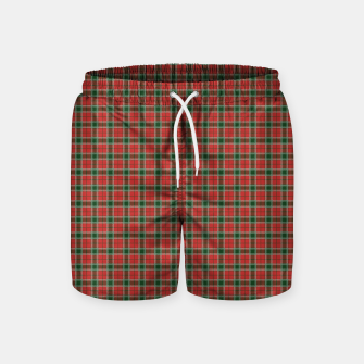 Miniatur Christmas Red and Dark Green Tartan with Double White Lines Swim Shorts, Live Heroes