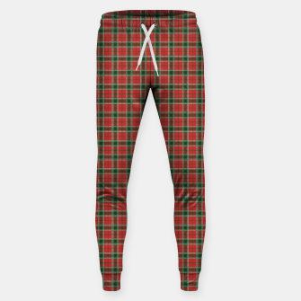 Miniatur Christmas Red and Dark Green Tartan with Double White Lines Sweatpants, Live Heroes