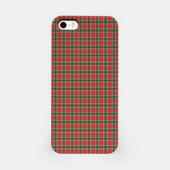 Miniatur Christmas Red and Dark Green Tartan with Double White Lines iPhone Case, Live Heroes