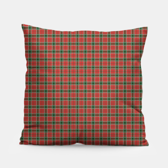 Miniatur Christmas Red and Dark Green Tartan with Double White Lines Pillow, Live Heroes