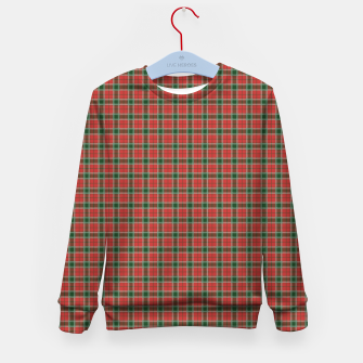 Miniatur Christmas Red and Dark Green Tartan with Double White Lines Kid's sweater, Live Heroes