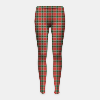 Miniatur Christmas Red and Dark Green Tartan with Double White Lines Girl's leggings, Live Heroes