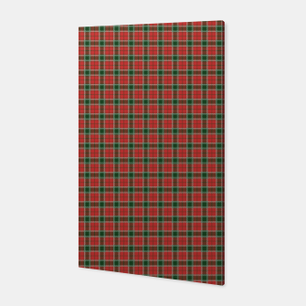 Miniatur Christmas Red and Dark Green Tartan with Double White Lines Canvas, Live Heroes