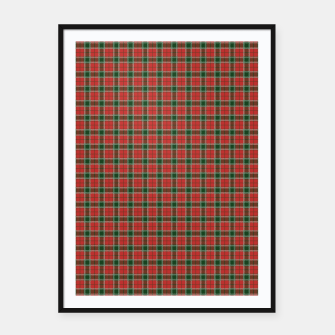 Imagen en miniatura de Christmas Red and Dark Green Tartan with Double White Lines Framed poster, Live Heroes