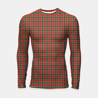 Miniatur Christmas Red and Dark Green Tartan with Double White Lines Longsleeve rashguard , Live Heroes