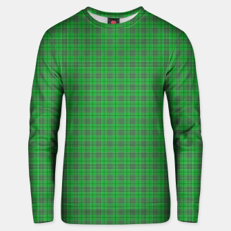 Miniatur Christmas Holly Green and Evergreen Tartan with White Lines Unisex sweater, Live Heroes