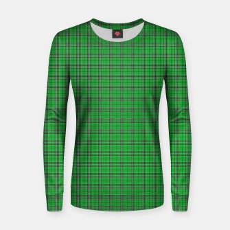 Miniatur Christmas Holly Green and Evergreen Tartan with White Lines Women sweater, Live Heroes
