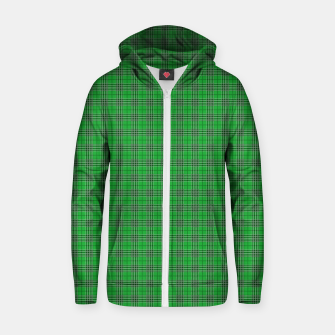 Miniatur Christmas Holly Green and Evergreen Tartan with White Lines Zip up hoodie, Live Heroes