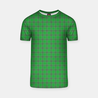 Miniatur Christmas Holly Green and Evergreen Tartan with White Lines T-shirt, Live Heroes