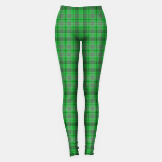 Miniatur Christmas Holly Green and Evergreen Tartan with White Lines Leggings, Live Heroes