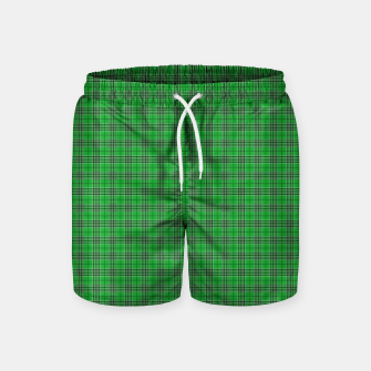 Miniatur Christmas Holly Green and Evergreen Tartan with White Lines Swim Shorts, Live Heroes