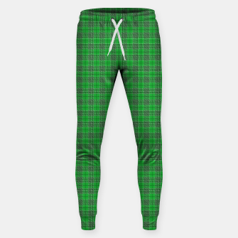Miniatur Christmas Holly Green and Evergreen Tartan with White Lines Sweatpants, Live Heroes